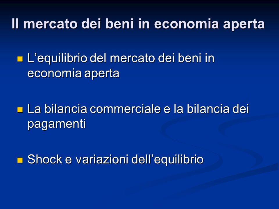 Lequilibrio del mercato dei beni in economia aperta Lequilibrio del mercato dei beni in economia aperta La bilancia commerciale e la bilancia dei paga