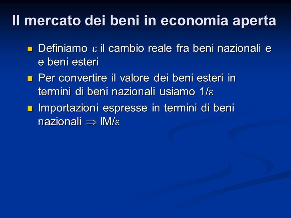 Definiamo il cambio reale fra beni nazionali e e beni esteri Definiamo il cambio reale fra beni nazionali e e beni esteri Per convertire il valore dei