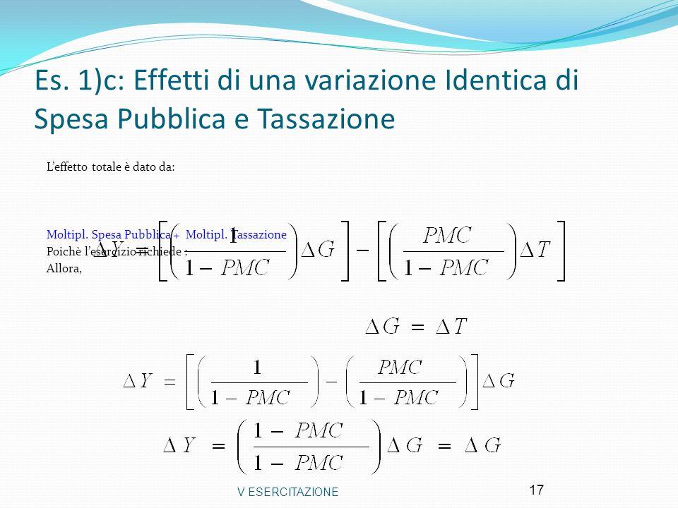 V ESERCITAZIONE 17 Es. 1)c: Effetti di una variazione Identica di Spesa Pubblica e Tassazione Leffetto totale è dato da: Moltipl. Spesa Pubblica + Mol