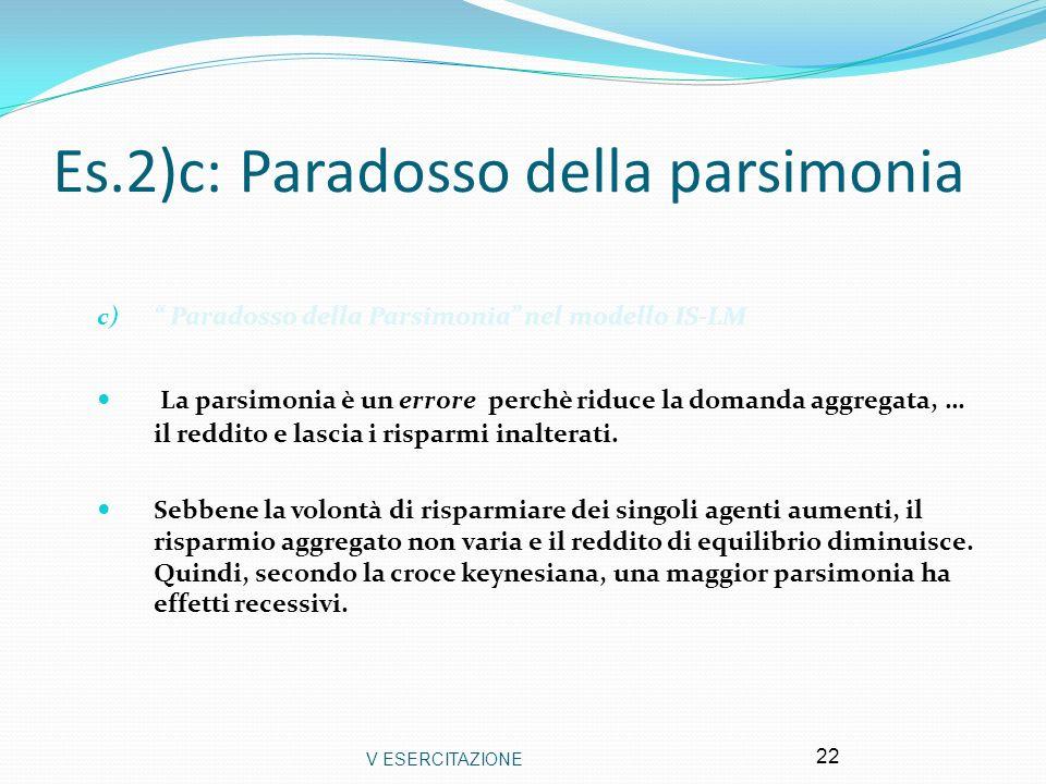 V ESERCITAZIONE 22 Es.2)c: Paradosso della parsimonia c) Paradosso della Parsimonia nel modello IS-LM La parsimonia è un errore perchè riduce la doman