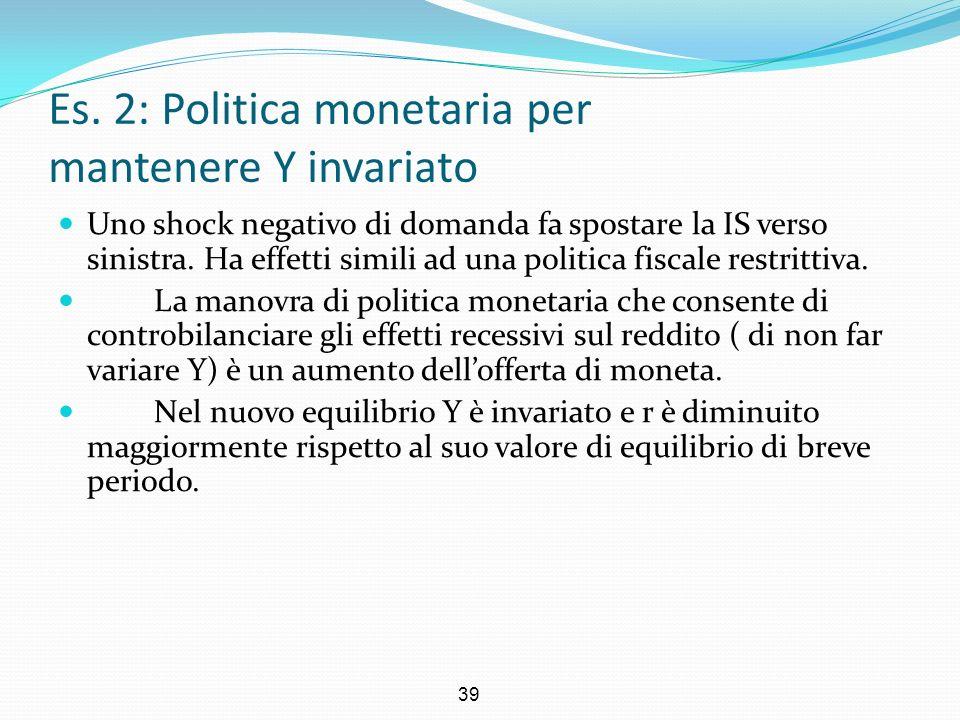 39 Es. 2: Politica monetaria per mantenere Y invariato Uno shock negativo di domanda fa spostare la IS verso sinistra. Ha effetti simili ad una politi