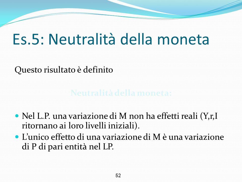 52 Es.5: Neutralità della moneta Questo risultato è definito Neutralità della moneta: Nel L.P. una variazione di M non ha effetti reali (Y,r,I ritorna