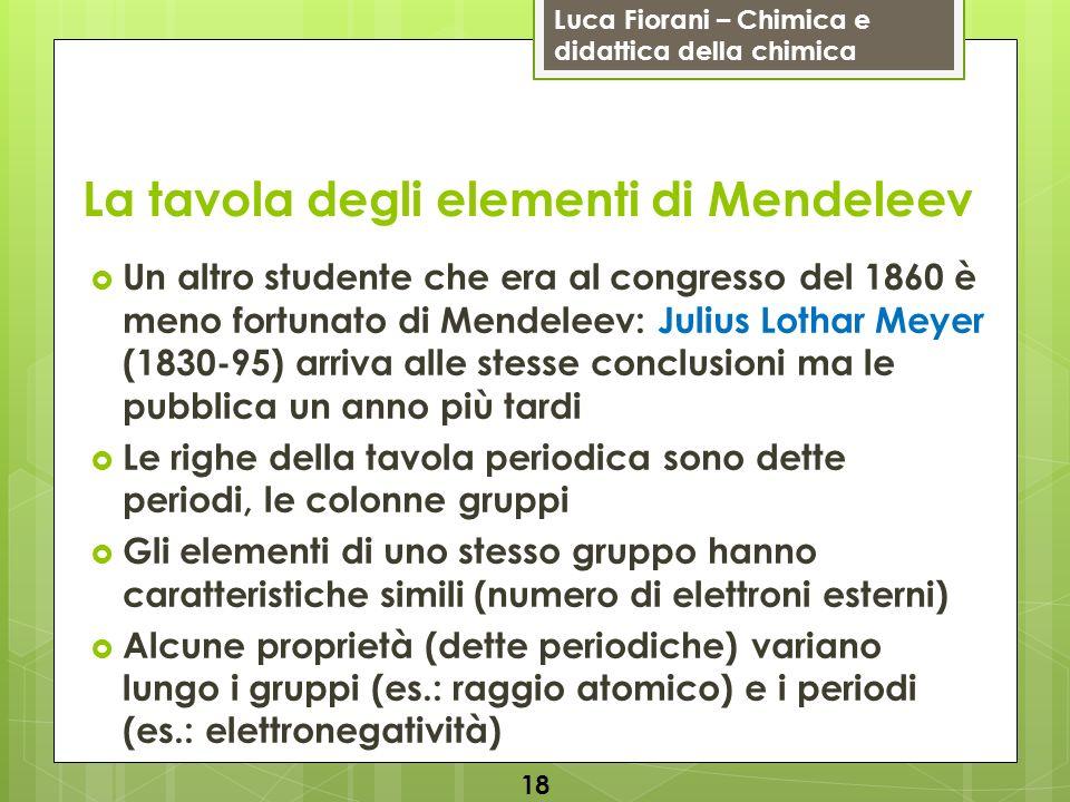 Luca Fiorani – Chimica e didattica della chimica La tavola degli elementi di Mendeleev Un altro studente che era al congresso del 1860 è meno fortunat