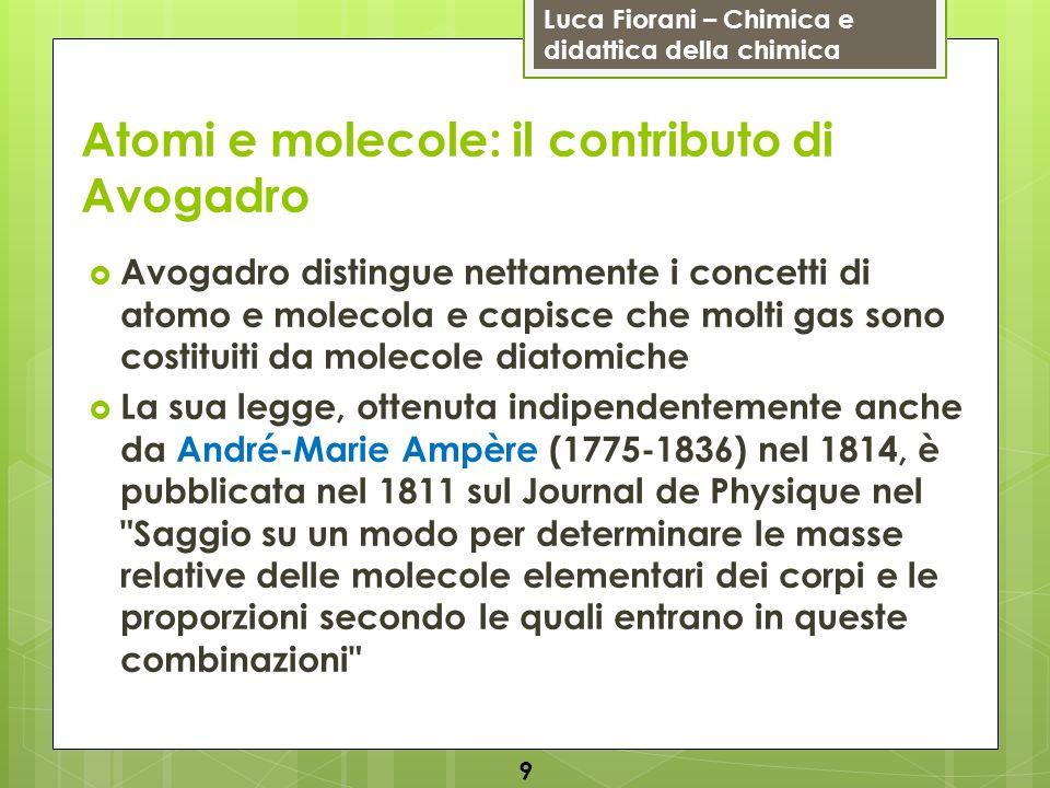 Luca Fiorani – Chimica e didattica della chimica Atomi e molecole: il contributo di Avogadro Avogadro distingue nettamente i concetti di atomo e molec