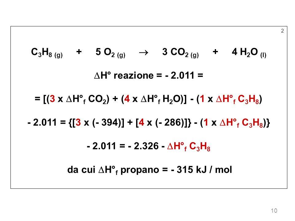 10 2 C 3 H 8 (g) + 5 O 2 (g) 3 CO 2 (g) + 4 H 2 O (l) H° reazione = - 2.011 = = [(3 x H° f CO 2 ) + (4 x H° f H 2 O)] - (1 x H° f C 3 H 8 ) - 2.011 =