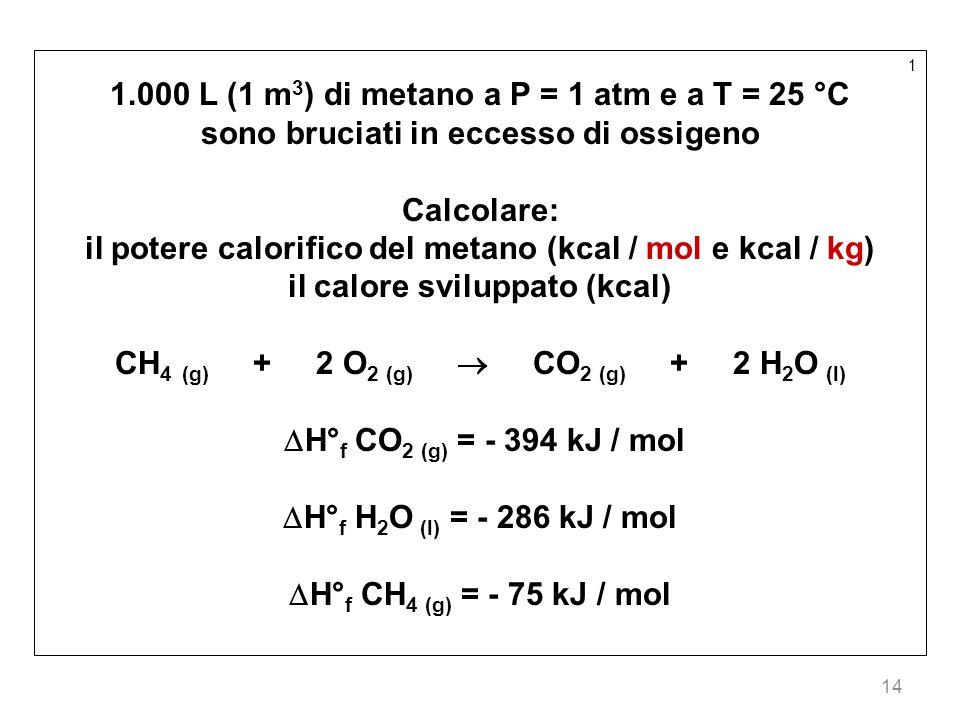 14 1 1.000 L (1 m 3 ) di metano a P = 1 atm e a T = 25 °C sono bruciati in eccesso di ossigeno Calcolare: il potere calorifico del metano (kcal / mol
