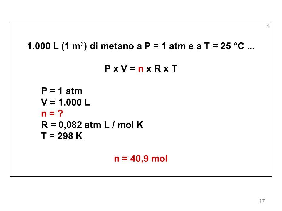 17 4 1.000 L (1 m 3 ) di metano a P = 1 atm e a T = 25 °C... P x V = n x R x T P = 1 atm V = 1.000 L n = ? R = 0,082 atm L / mol K T = 298 K n = 40,9
