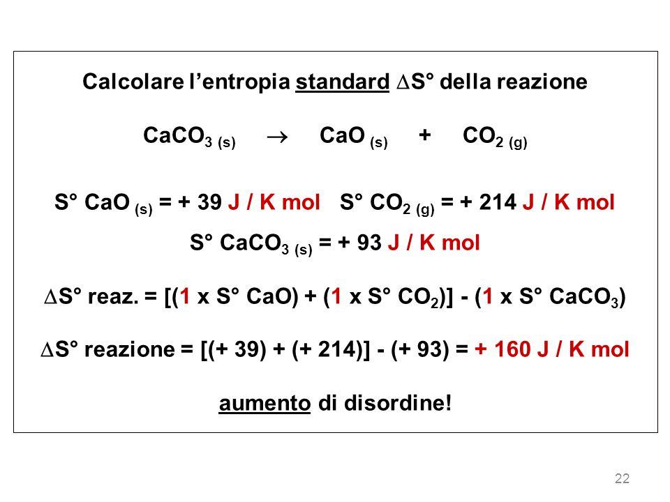 22 Calcolare lentropia standard S° della reazione CaCO 3 (s) CaO (s) + CO 2 (g) S° CaO (s) = + 39 J / K mol S° CO 2 (g) = + 214 J / K mol S° CaCO 3 (s