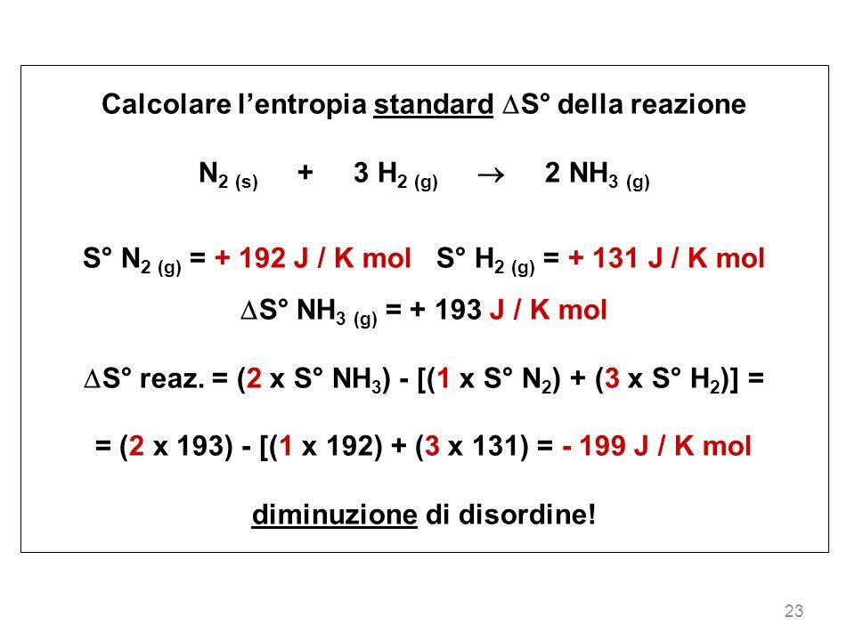 23 Calcolare lentropia standard S° della reazione N 2 (s) + 3 H 2 (g) 2 NH 3 (g) S° N 2 (g) = + 192 J / K mol S° H 2 (g) = + 131 J / K mol S° NH 3 (g)