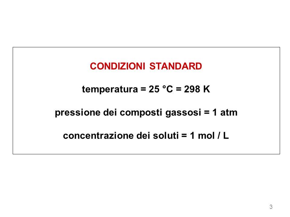3 CONDIZIONI STANDARD temperatura = 25 °C = 298 K pressione dei composti gassosi = 1 atm concentrazione dei soluti = 1 mol / L