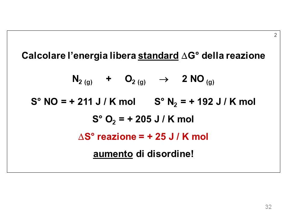 32 2 Calcolare lenergia libera standard G° della reazione N 2 (g) + O 2 (g) 2 NO (g) S° NO = + 211 J / K mol S° N 2 = + 192 J / K mol S° O 2 = + 205 J