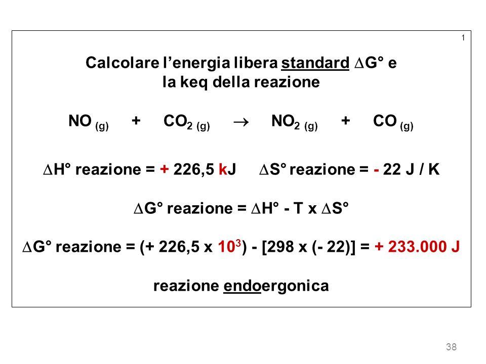 38 1 Calcolare lenergia libera standard G° e la keq della reazione NO (g) + CO 2 (g) NO 2 (g) + CO (g) H° reazione = + 226,5 kJ S° reazione = - 22 J /