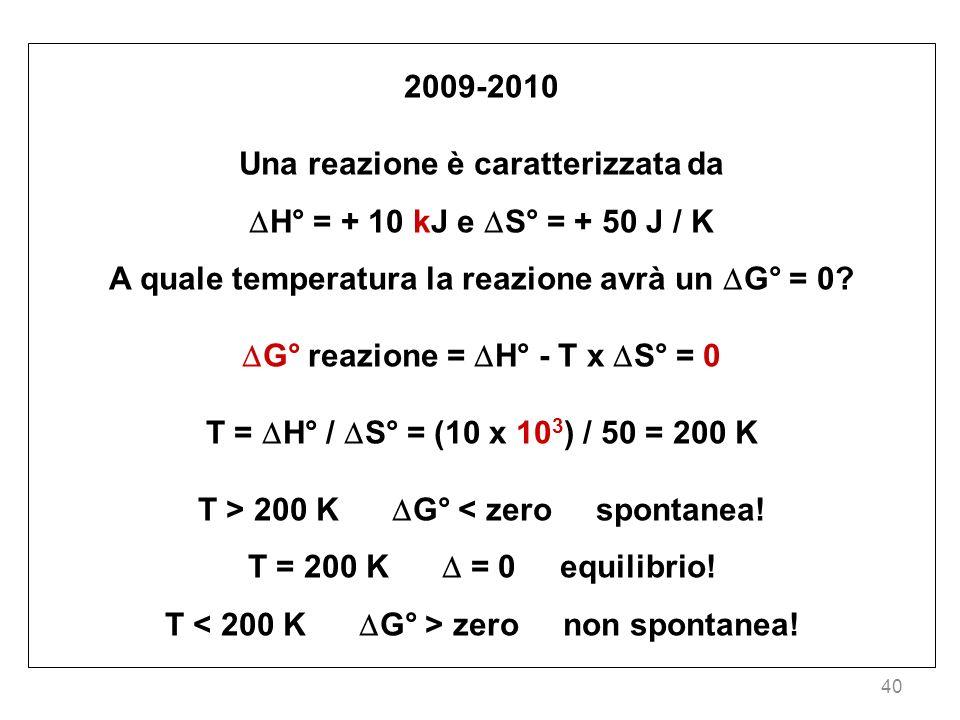 40 2009-2010 Una reazione è caratterizzata da H° = + 10 kJ e S° = + 50 J / K A quale temperatura la reazione avrà un G° = 0? G° reazione = H° - T x S°