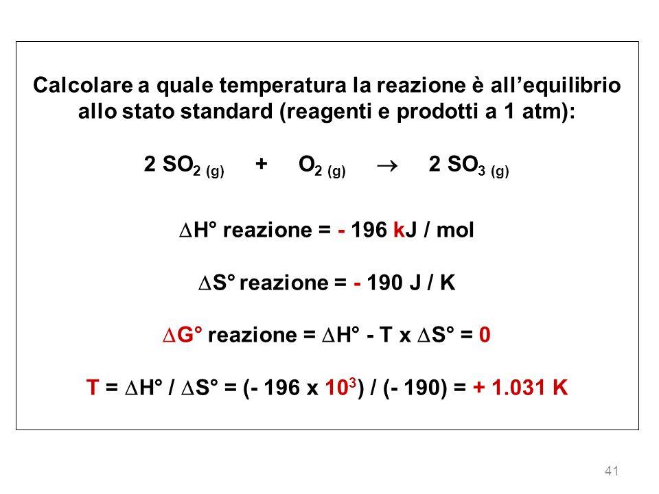 41 Calcolare a quale temperatura la reazione è allequilibrio allo stato standard (reagenti e prodotti a 1 atm): 2 SO 2 (g) + O 2 (g) 2 SO 3 (g) H° rea
