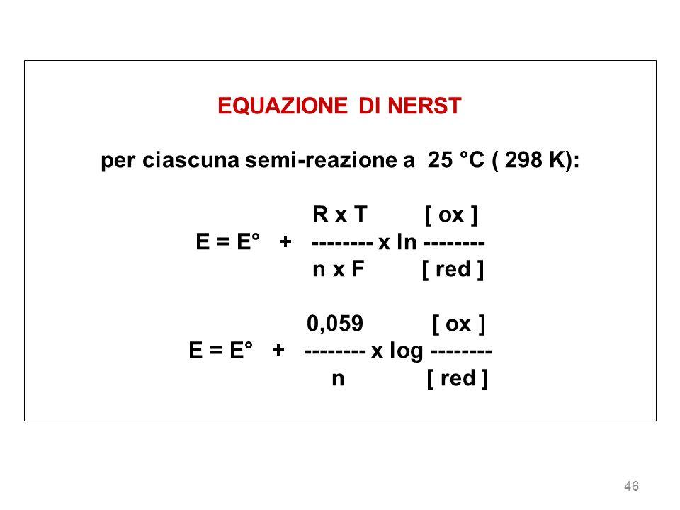 46 EQUAZIONE DI NERST per ciascuna semi-reazione a 25 °C ( 298 K): R x T [ ox ] E = E° + -------- x ln -------- n x F [ red ] 0,059 [ ox ] E = E° + --