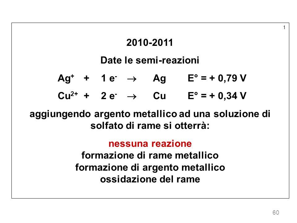60 1 2010-2011 Date le semi-reazioni Ag + +1 e - AgE° = + 0,79 V Cu 2+ +2 e - CuE° = + 0,34 V aggiungendo argento metallico ad una soluzione di solfat
