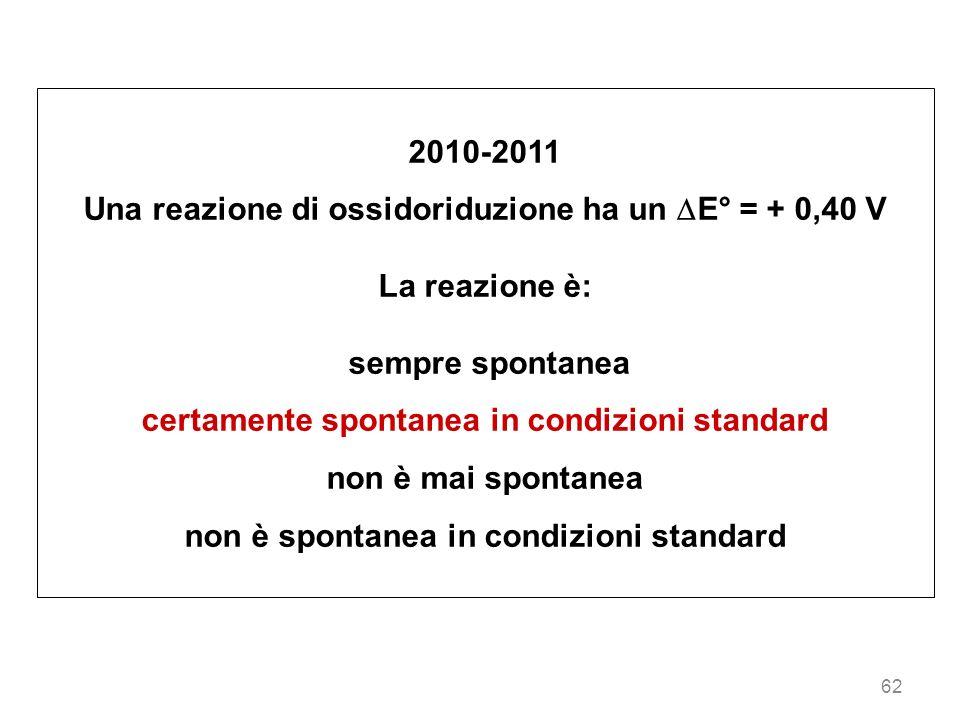 62 2010-2011 Una reazione di ossidoriduzione ha un E° = + 0,40 V La reazione è: sempre spontanea certamente spontanea in condizioni standard non è mai