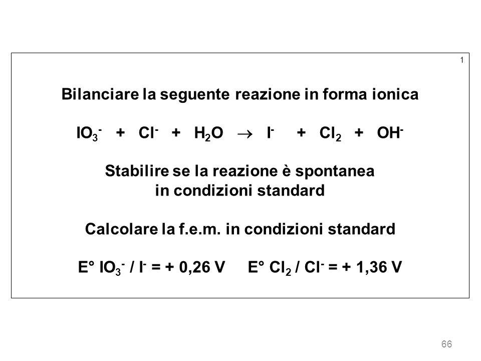 66 1 Bilanciare la seguente reazione in forma ionica IO 3 - + Cl - + H 2 O I - + Cl 2 + OH - Stabilire se la reazione è spontanea in condizioni standa