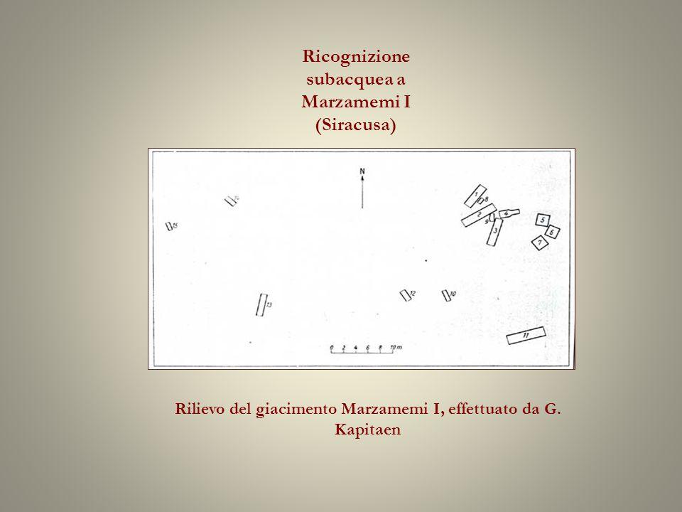 Ricognizione subacquea a Marzamemi I (Siracusa) Rilievo del giacimento Marzamemi I, effettuato da G.