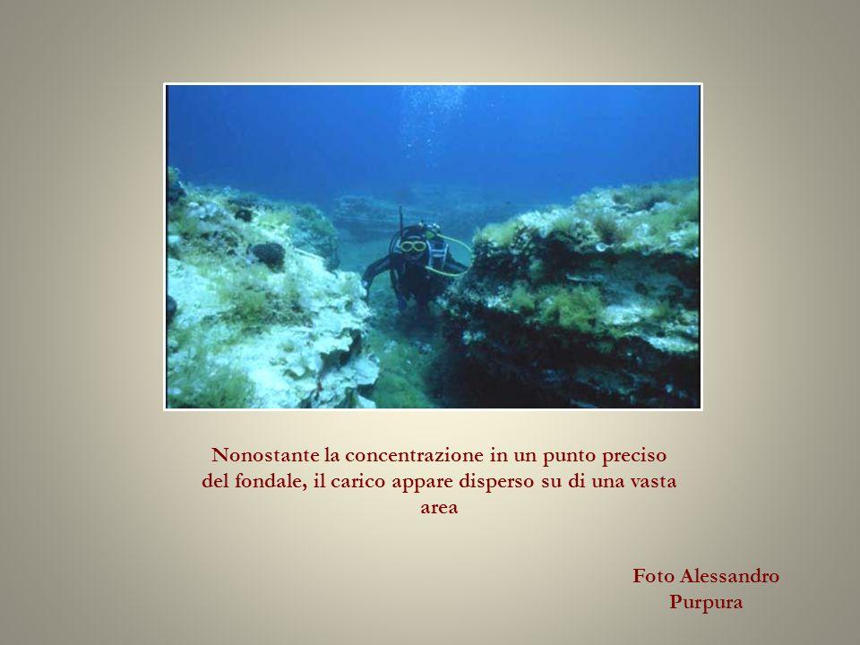 Nonostante la concentrazione in un punto preciso del fondale, il carico appare disperso su di una vasta area Foto Alessandro Purpura