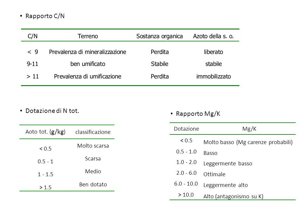 Rapporto C/N Aoto tot. ( g/kg ) classificazione < 0.5 Molto scarsa 0.5 - 1 Scarsa 1 - 1.5 Medio > 1.5 Ben dotato Dotazione di N tot. DotazioneMg/K < 0