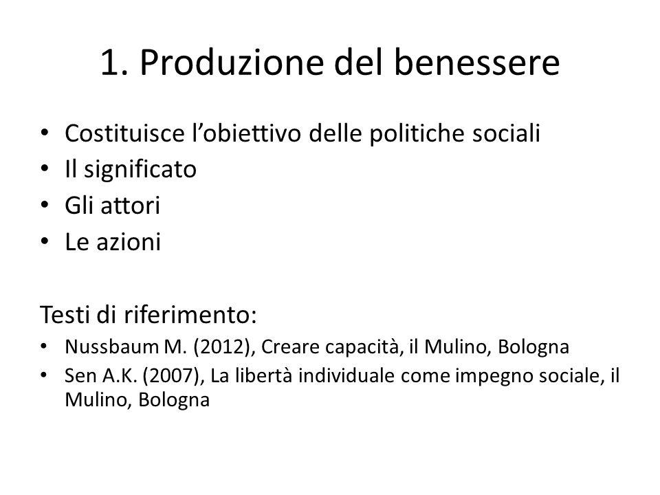 1. Produzione del benessere Costituisce lobiettivo delle politiche sociali Il significato Gli attori Le azioni Testi di riferimento: Nussbaum M. (2012