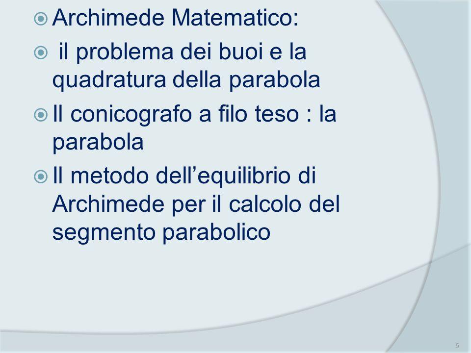 Archimede Matematico: il problema dei buoi e la quadratura della parabola Il conicografo a filo teso : la parabola Il metodo dellequilibrio di Archime