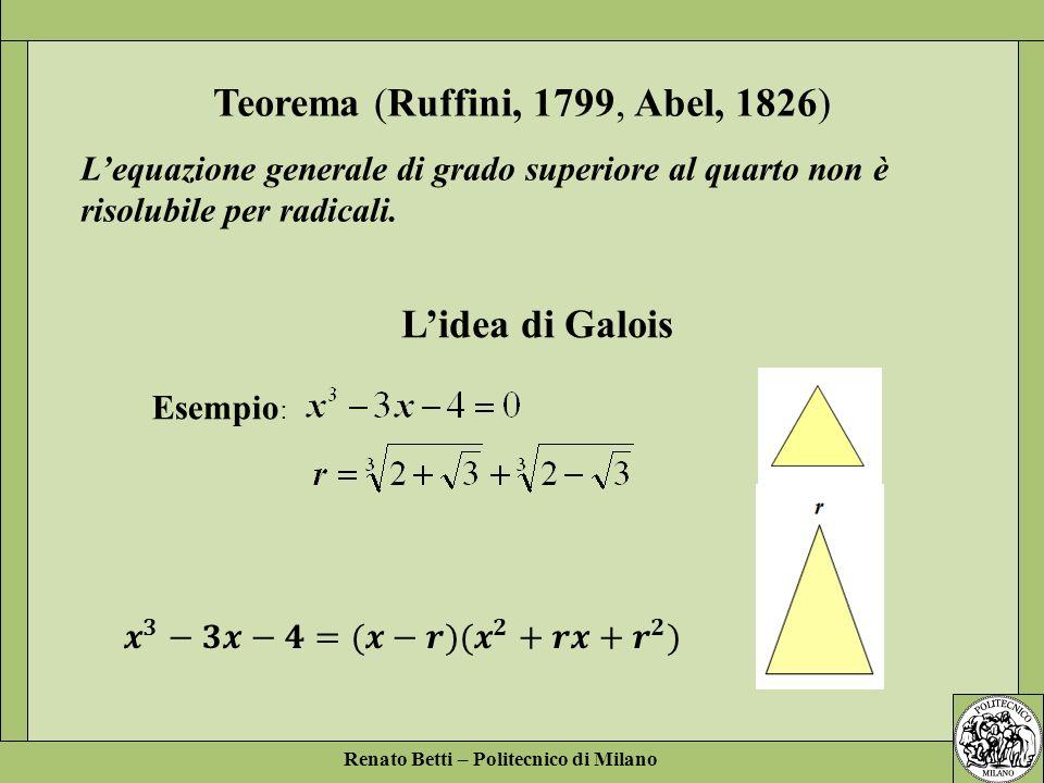 Renato Betti – Politecnico di Milano Esempio : Lidea di Galois Teorema (Ruffini, 1799, Abel, 1826) Lequazione generale di grado superiore al quarto no