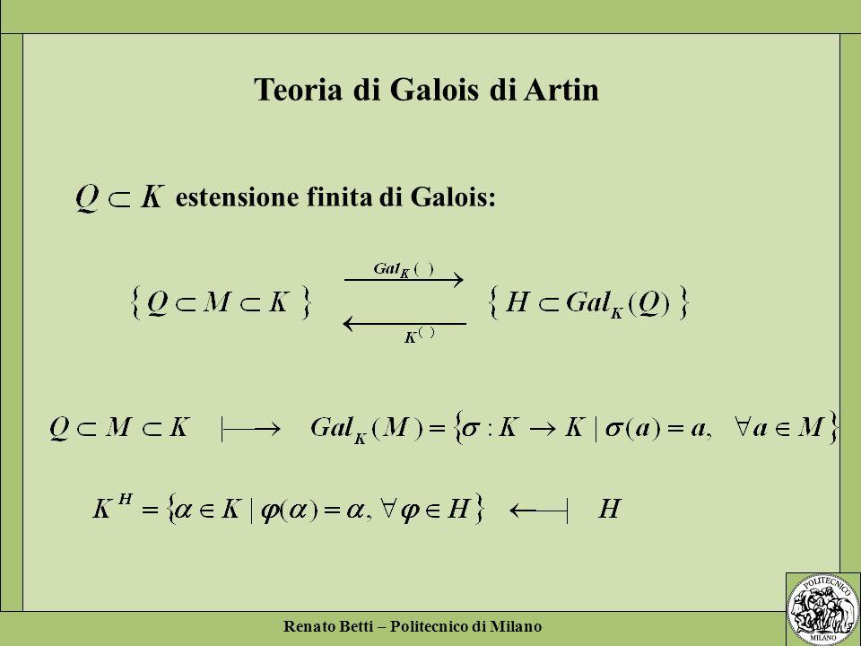 Renato Betti – Politecnico di Milano Teoria di Galois di Artin estensione finita di Galois: