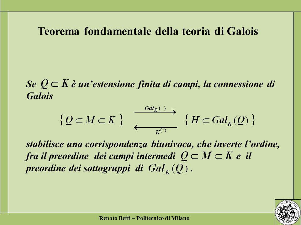Renato Betti – Politecnico di Milano Se è unestensione finita di campi, la connessione di Galois stabilisce una corrispondenza biunivoca, che inverte