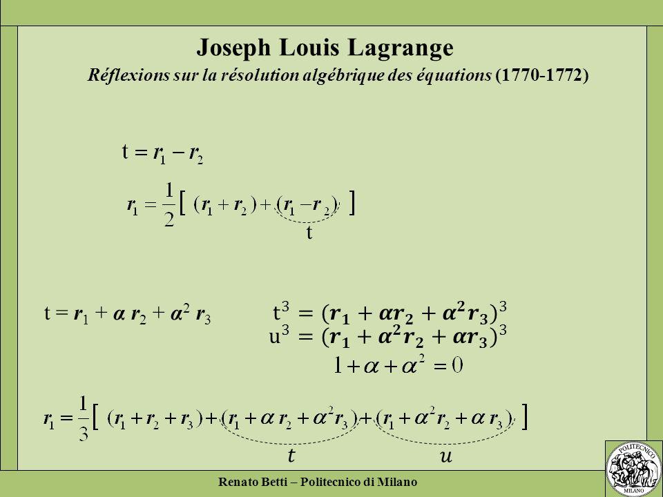Renato Betti – Politecnico di Milano t = r 1 + α r 2 + α 2 r 3 Réflexions sur la résolution algébrique des équations (1770-1772) Joseph Louis Lagrange