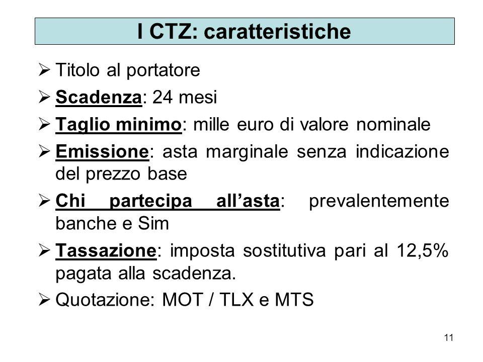 11 I CTZ: caratteristiche Titolo al portatore Scadenza: 24 mesi Taglio minimo: mille euro di valore nominale Emissione: asta marginale senza indicazio