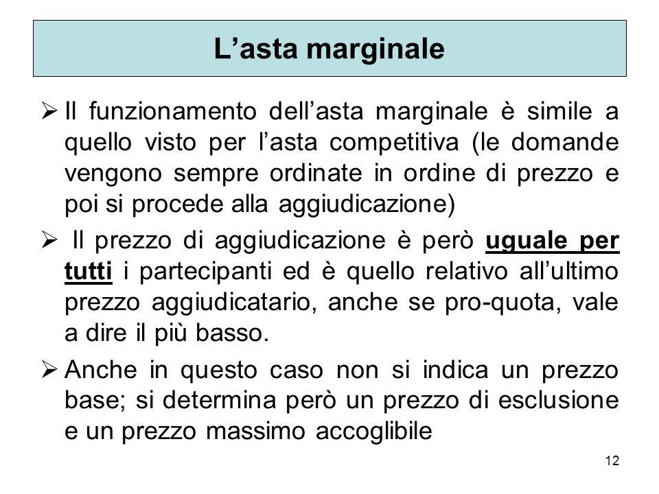 12 Lasta marginale Il funzionamento dellasta marginale è simile a quello visto per lasta competitiva (le domande vengono sempre ordinate in ordine di