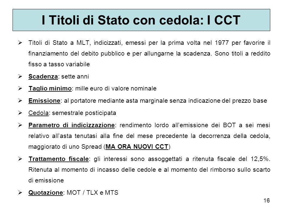 16 I Titoli di Stato con cedola: I CCT Titoli di Stato a MLT, indicizzati, emessi per la prima volta nel 1977 per favorire il finanziamento del debito