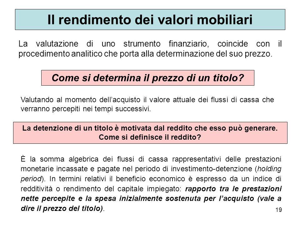 19 Il rendimento dei valori mobiliari La valutazione di uno strumento finanziario, coincide con il procedimento analitico che porta alla determinazion
