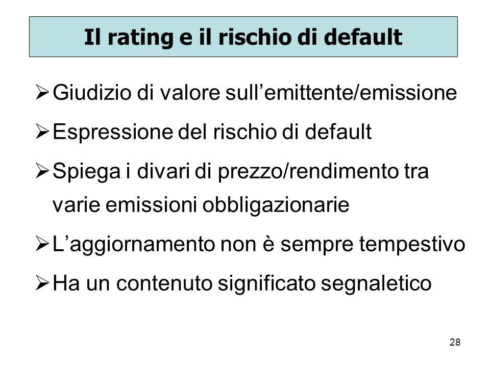 28 Il rating e il rischio di default Giudizio di valore sullemittente/emissione Espressione del rischio di default Spiega i divari di prezzo/rendiment