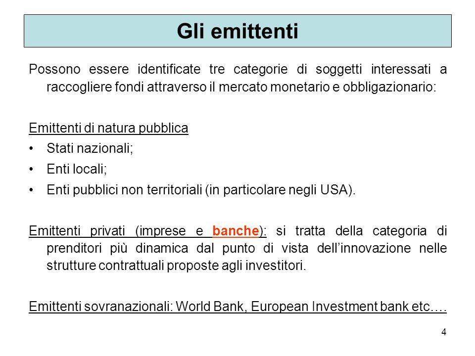 4 Gli emittenti Possono essere identificate tre categorie di soggetti interessati a raccogliere fondi attraverso il mercato monetario e obbligazionari