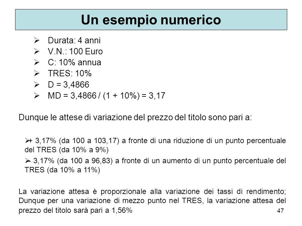 47 Un esempio numerico Durata: 4 anni V.N.: 100 Euro C: 10% annua TRES: 10% D = 3,4866 MD = 3,4866 / (1 + 10%) = 3,17 Dunque le attese di variazione d