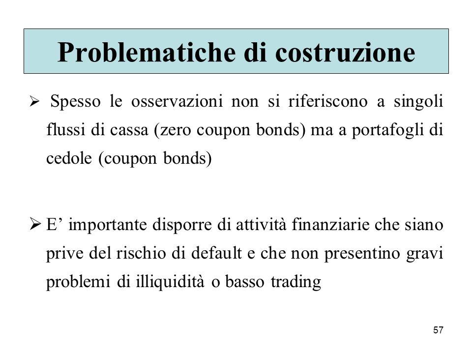 57 Problematiche di costruzione Spesso le osservazioni non si riferiscono a singoli flussi di cassa (zero coupon bonds) ma a portafogli di cedole (cou