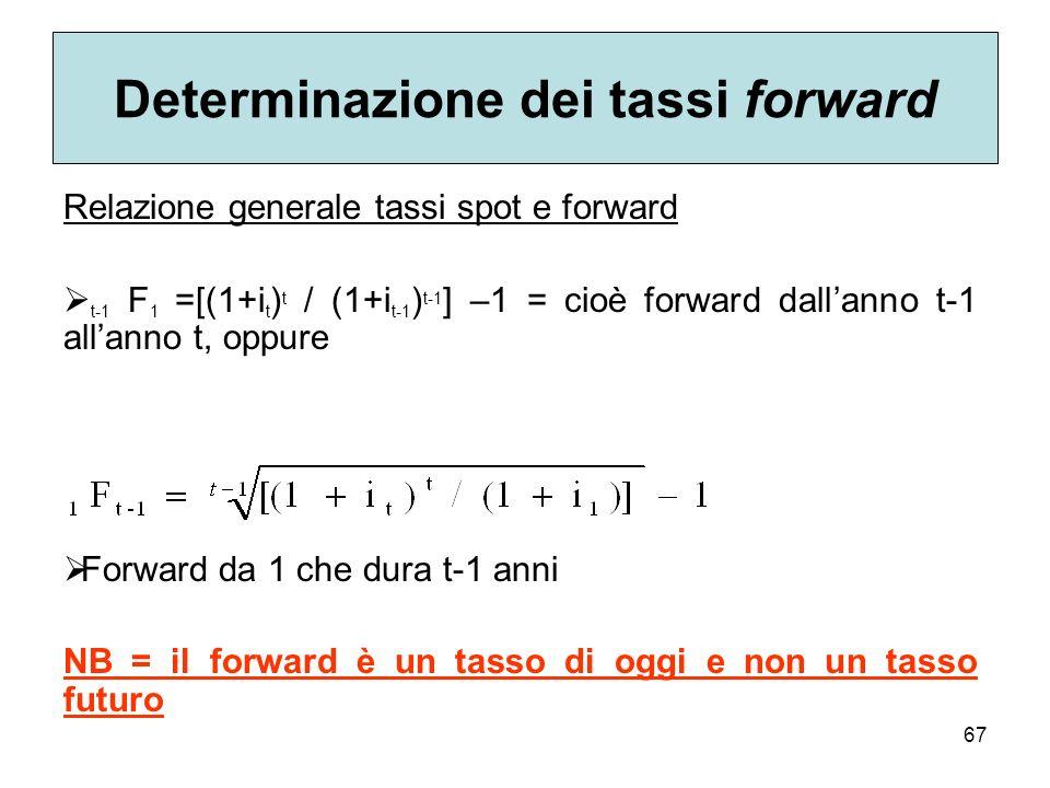 67 Determinazione dei tassi forward Relazione generale tassi spot e forward t-1 F 1 =[(1+i t ) t / (1+i t-1 ) t-1 ] –1 = cioè forward dallanno t-1 all