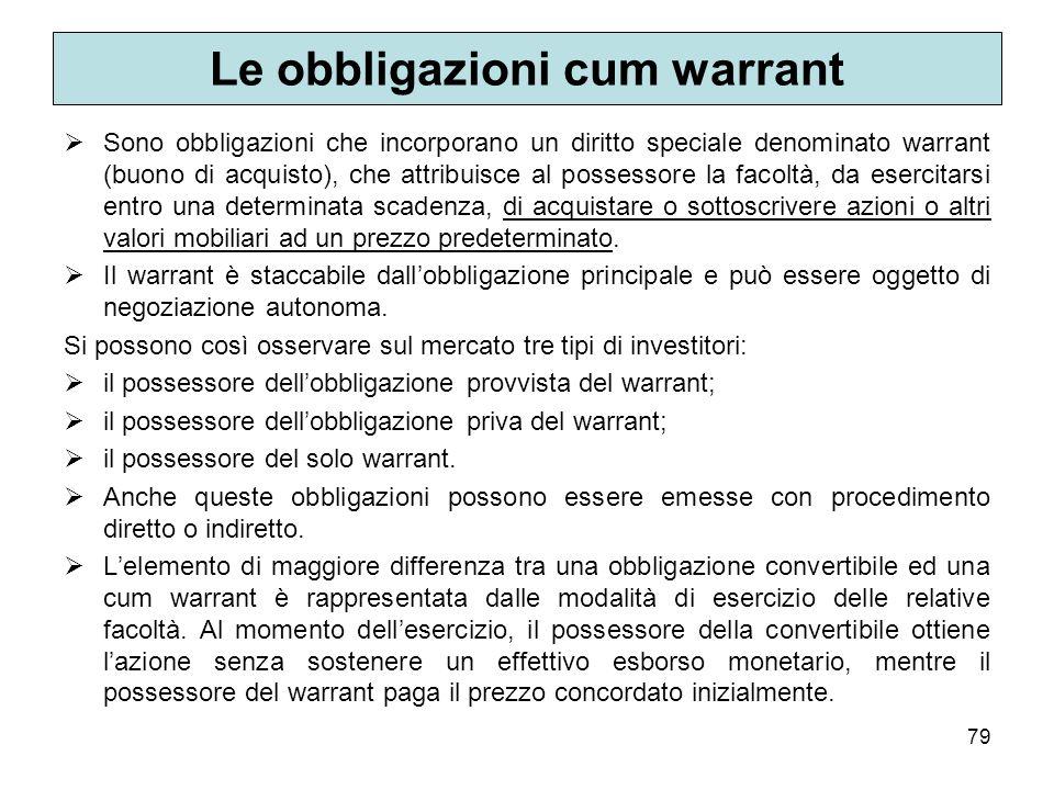 79 Le obbligazioni cum warrant Sono obbligazioni che incorporano un diritto speciale denominato warrant (buono di acquisto), che attribuisce al posses