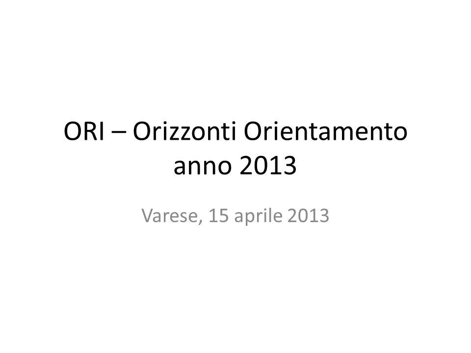 ORI – Orizzonti Orientamento anno 2013 Varese, 15 aprile 2013