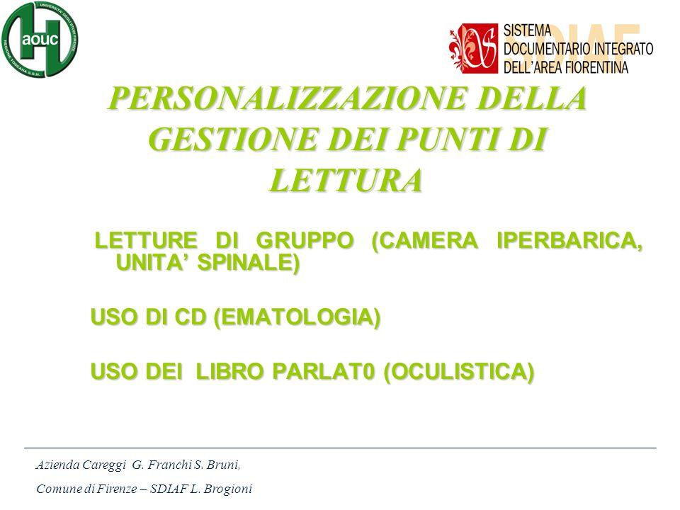 LETTURE DI GRUPPO (CAMERA IPERBARICA, UNITA SPINALE) LETTURE DI GRUPPO (CAMERA IPERBARICA, UNITA SPINALE) USO DI CD (EMATOLOGIA) USO DEl LIBRO PARLAT0 (OCULISTICA) Azienda Careggi G.