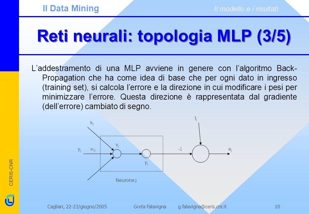 CERIS-CNR Greta Falavigna g.falavigna@ceris.cnr.itCagliari, 22-23/giugno/200510 Reti neurali: topologia MLP (3/5) Laddestramento di una MLP avviene in genere con lalgoritmo Back- Propagation che ha come idea di base che per ogni dato in ingresso (training set), si calcola lerrore e la direzione in cui modificare i pesi per minimizzare lerrore.