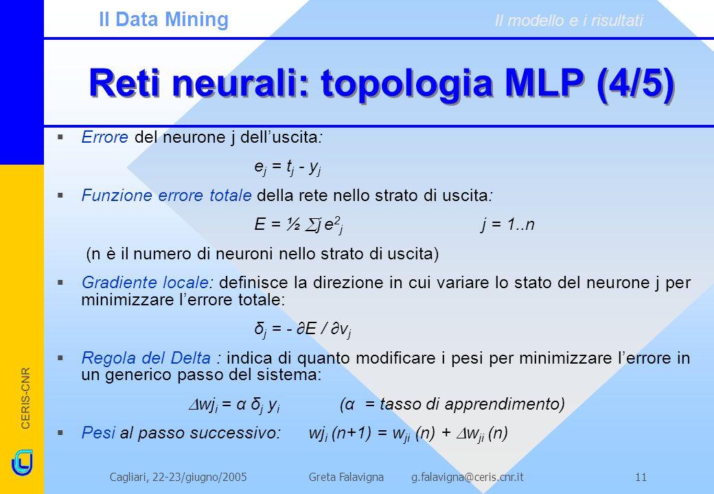 CERIS-CNR Greta Falavigna g.falavigna@ceris.cnr.itCagliari, 22-23/giugno/200511 Reti neurali: topologia MLP (4/5) Errore del neurone j delluscita: e j