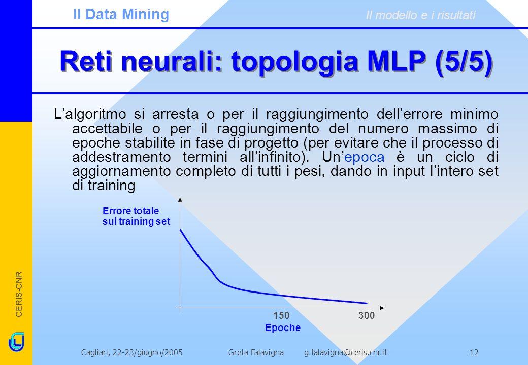 CERIS-CNR Greta Falavigna g.falavigna@ceris.cnr.itCagliari, 22-23/giugno/200512 Reti neurali: topologia MLP (5/5) Lalgoritmo si arresta o per il raggi