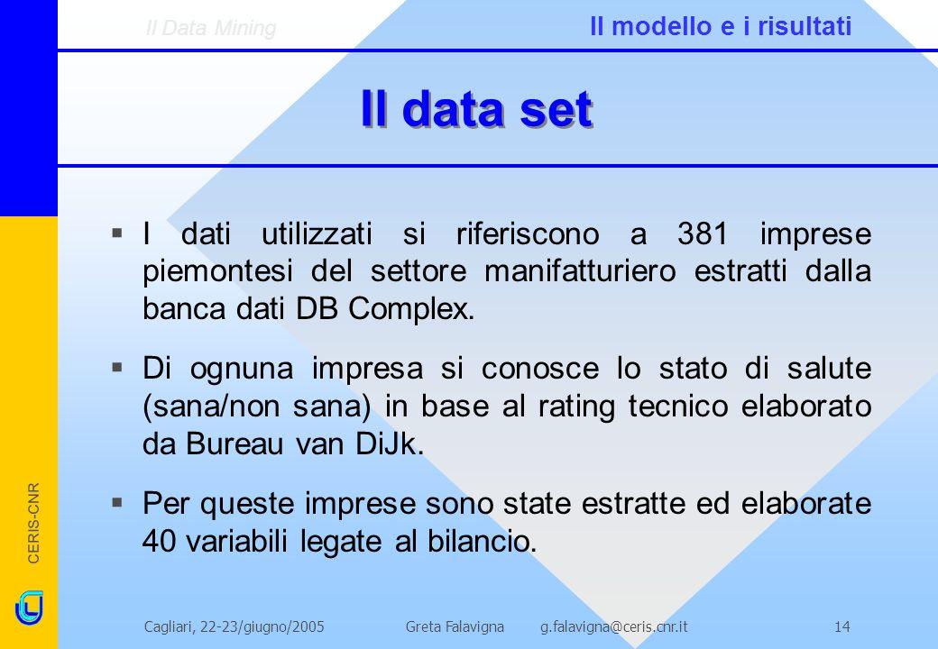 CERIS-CNR Greta Falavigna g.falavigna@ceris.cnr.itCagliari, 22-23/giugno/200514 Il data set I dati utilizzati si riferiscono a 381 imprese piemontesi del settore manifatturiero estratti dalla banca dati DB Complex.