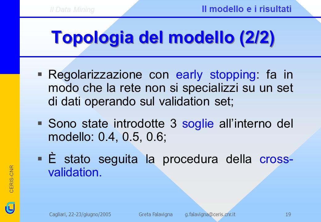 CERIS-CNR Greta Falavigna g.falavigna@ceris.cnr.itCagliari, 22-23/giugno/200519 Topologia del modello (2/2) Regolarizzazione con early stopping: fa in modo che la rete non si specializzi su un set di dati operando sul validation set; Sono state introdotte 3 soglie allinterno del modello: 0.4, 0.5, 0.6; È stato seguita la procedura della cross- validation.