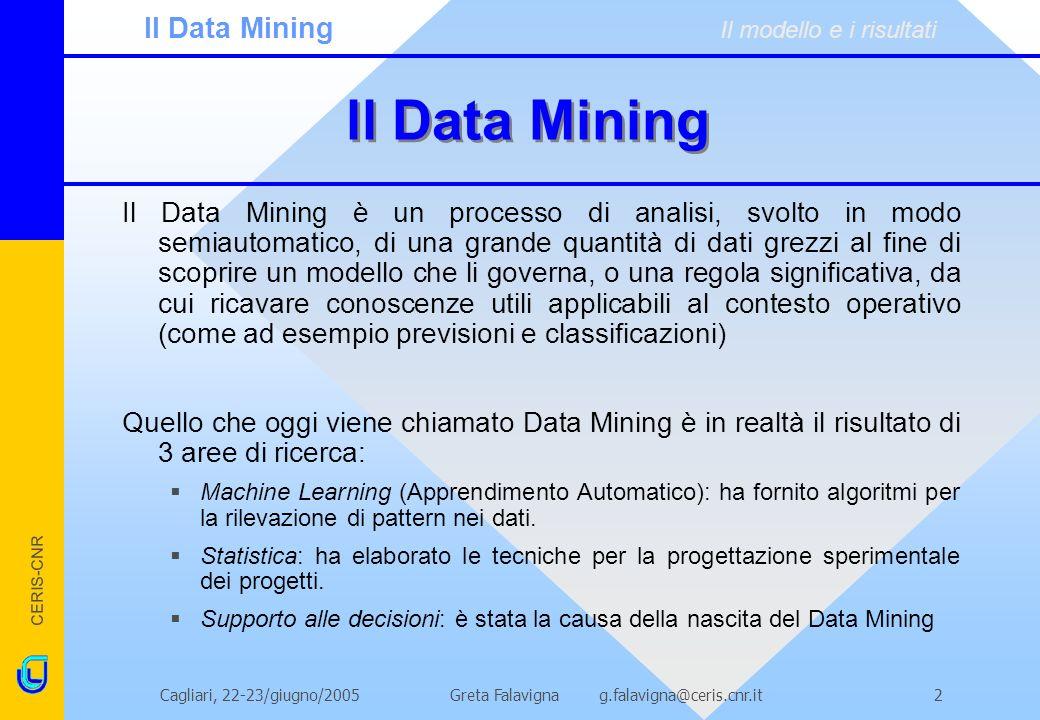 CERIS-CNR Greta Falavigna g.falavigna@ceris.cnr.itCagliari, 22-23/giugno/20052 ll Data Mining Il Data Mining è un processo di analisi, svolto in modo semiautomatico, di una grande quantità di dati grezzi al fine di scoprire un modello che li governa, o una regola significativa, da cui ricavare conoscenze utili applicabili al contesto operativo (come ad esempio previsioni e classificazioni) Quello che oggi viene chiamato Data Mining è in realtà il risultato di 3 aree di ricerca: Machine Learning (Apprendimento Automatico): ha fornito algoritmi per la rilevazione di pattern nei dati.