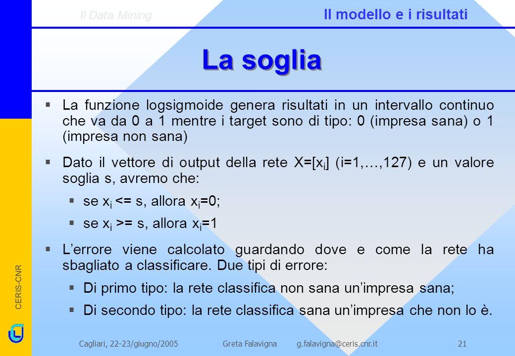 CERIS-CNR Greta Falavigna g.falavigna@ceris.cnr.itCagliari, 22-23/giugno/200521 La soglia La funzione logsigmoide genera risultati in un intervallo continuo che va da 0 a 1 mentre i target sono di tipo: 0 (impresa sana) o 1 (impresa non sana) Dato il vettore di output della rete X=[x i ] (i=1,…,127) e un valore soglia s, avremo che: se x i <= s, allora x i =0; se x i >= s, allora x i =1 Lerrore viene calcolato guardando dove e come la rete ha sbagliato a classificare.